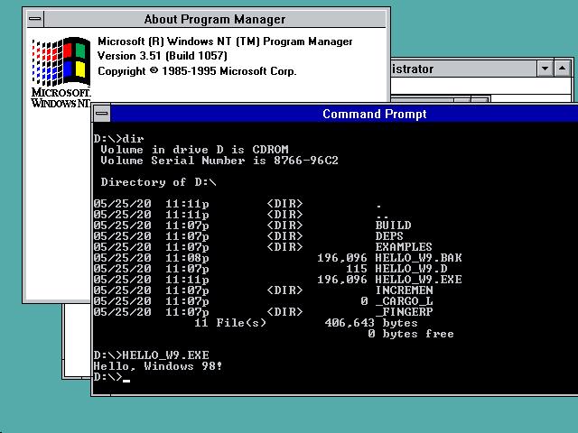 'Hello Windows 98!' on Windows NT 3.51
