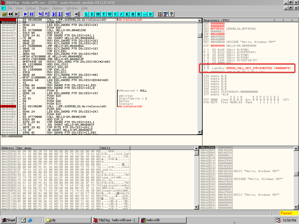 OllyDbg showing the last error code after calling WriteConsoleW